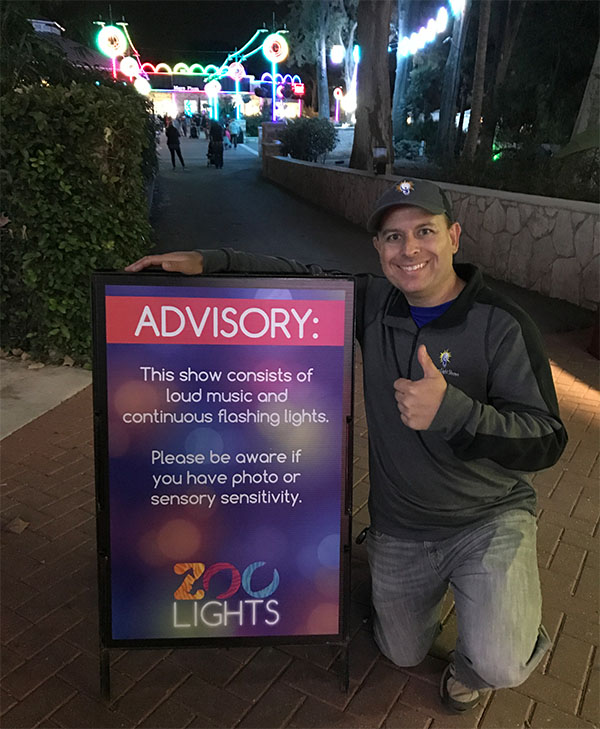 Matt with Advisory Sign